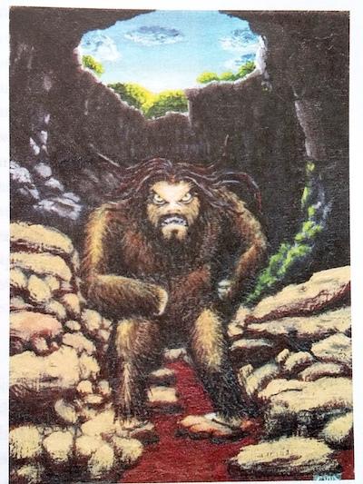 El Gorila de Calcehtok, dibujo de Augusto Evia Osalde tomado de El mito del hombre salvaje en Yucatán