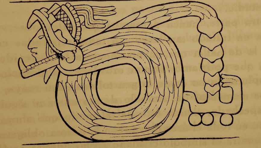 Serpiente de cascabel de Chichen Viejo (dibujo tomado de La serpiente emplumada eje de culturas)