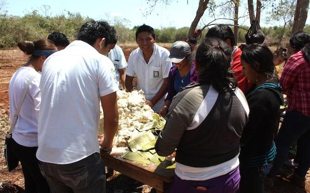 Estudiantes preparan los panes