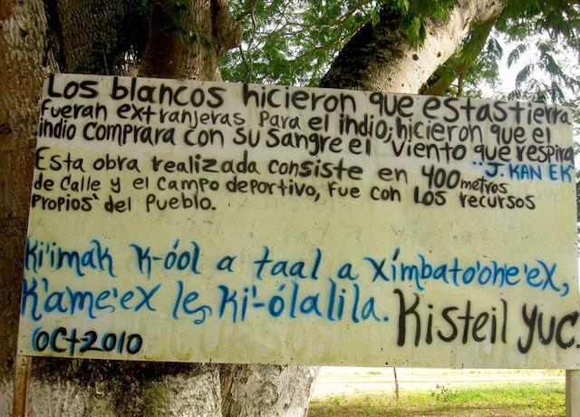Un expresivo mensaje de los pobladores.
