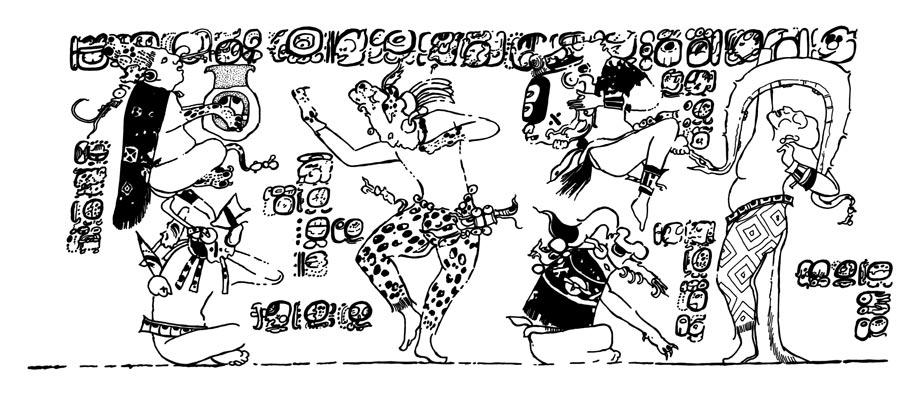 Un dibujo que muestra a seis wáay en una danza frenética (prestada en esta web http://research.famsi.org/schele_list.php?_allSearch=sacrificios&hold_search=)